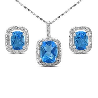 Blue Topaz & Diamond Pendant & Earring Jewelry Set in .925 Sterling Silver