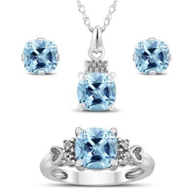 Aquamarine and White Topaz Pendant and Earring 3 Piece Jewelry Set in .925 Sterling Silver