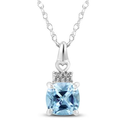 1a8035923 Aquamarine and White Topaz Pendant and Earring 3 Piece Jewelry Set in .925  Sterling Silver - SPPSET59336AQ