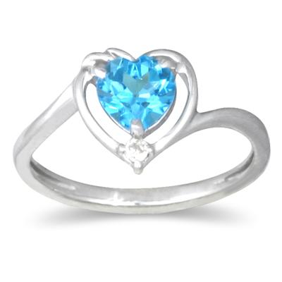 1 Carat Heart-shaped Blue Topaz and Diamond Ring in 10K White Gold