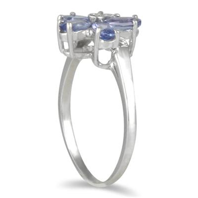 Tanzanite and Diamond Flower Ring in 10K White Gold