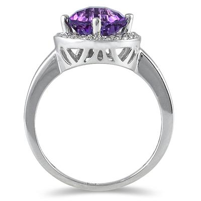 10K White Gold Amethyst and 0.15 Carat TW Diamond Ring