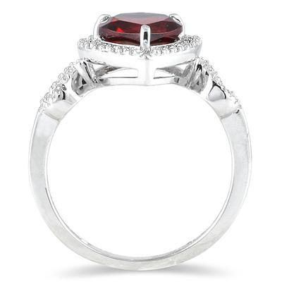 Garnet and Diamond Heart Ring in 10K White Gold