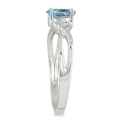 Aquamarine and Diamond Twist Ring in 10K White Gold