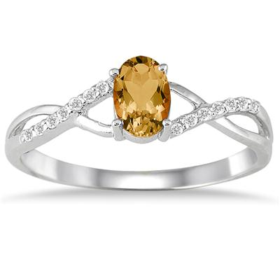 Citrine and Diamond Twist Ring in 10K White Gold