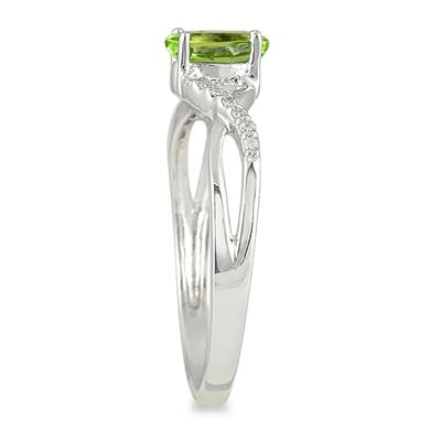 Peridot and Diamond Twist Ring in 10K White Gold