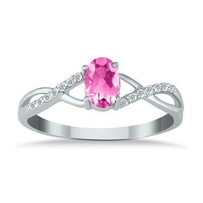 PinkTopaz and Diamond Twist Ring in 10K White Gold