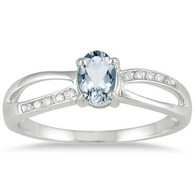 Aquamarine and Diamond Split ing in 10K White Gold