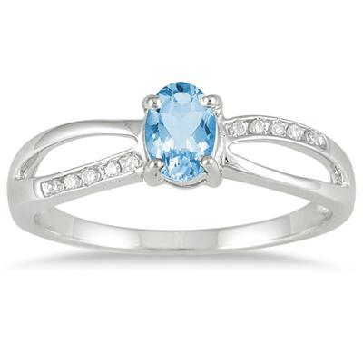 Blue Topaz and Diamond Split Ring in 10k White Gold