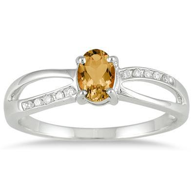 Citrine and Diamond Split Ring in 10K White Gold