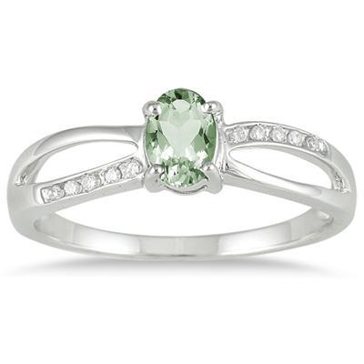 Green Amethyst and Diamnd Split Ring in 10k White Gold