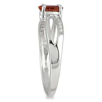 Garnet and Diamond Split Ring in 10K White Gold