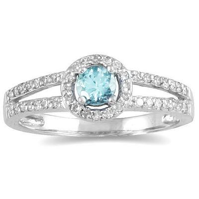 1/4 Carat TW Diamond and Aquamarine Ring in 10K White Gold