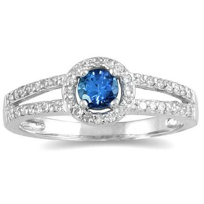 1/4 Carat TW Diamond and Sapphire Ring in 10K White Gold
