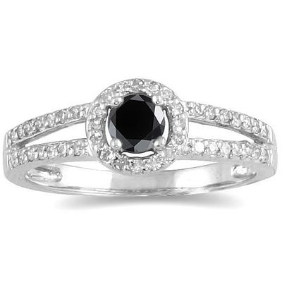 1/2 Carat TW Black and White Diamond Ring in 10K White Gold