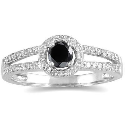 1/2 Carat TW Black and White Diamond Ring in 10K White Gold