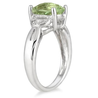 3 Carat Green Amethyst and Diamond Ring in Sterling Silver