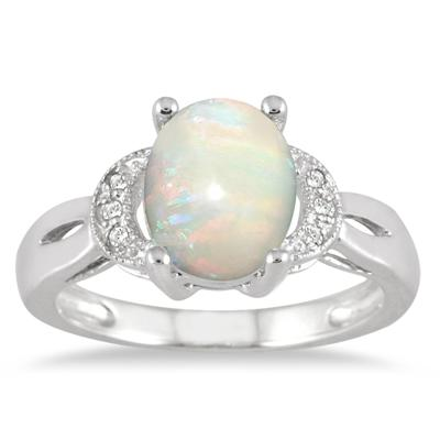 Created Opal and Diamond Ring in Sterling Silver