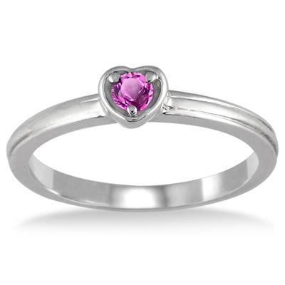Pink Sapphire Heart Ring in .925 Sterling Silver
