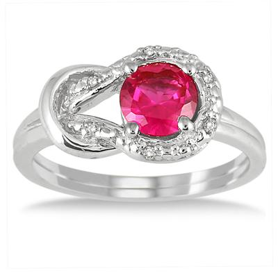6mm Created Ruby and Genuine Diamond Love knot Ring in .925 Sterling Silver