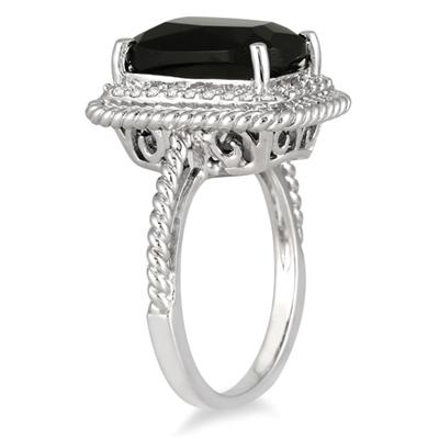 13x9mm Cushion Cut Onyx and Diamond Ring in .925 Sterling Silver