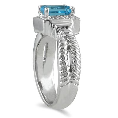 1.20 Carat Blue Topaz and Diamond Ring in .925 Sterling Silver