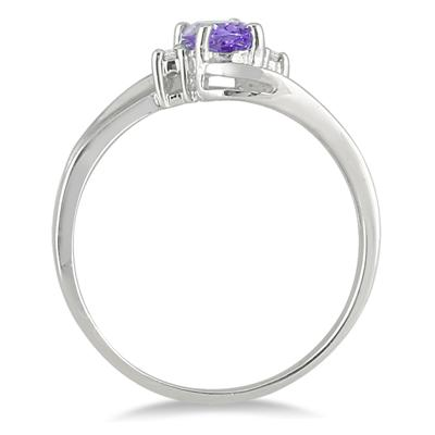 Tanzanite Gemstone and Diamond Wave Ring 14k White Gold