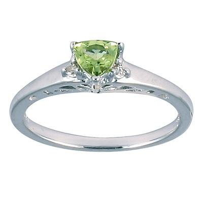 Antique Trillion Peridot and Diamond Ring