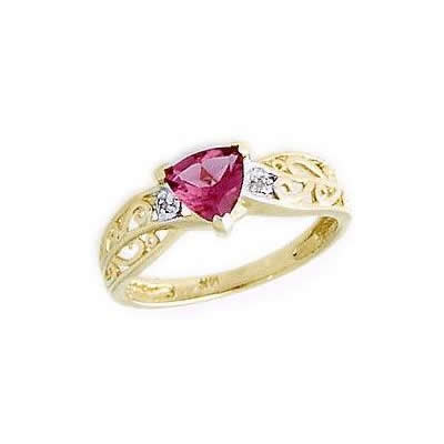 Pink Tourmaline and Diamond Engraved Ring