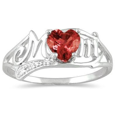 Garnet and Diamond Heart Shaped MOM Ring
