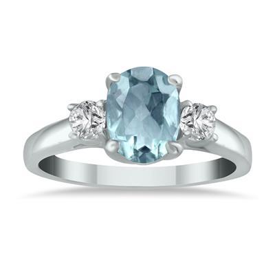 Aquamarine and Diamond Three Stone Ring 14K White Gold