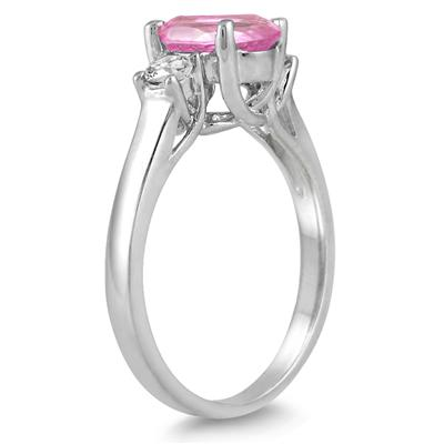 1 3/4 Carat Pink Topaz and Diamond Three Stone Ring 14K White Gold