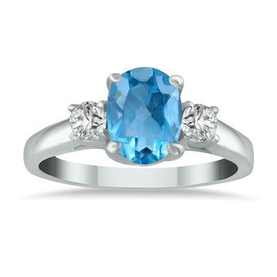 1 3/4 Carat Blue Topaz and Diamond Three Stone Ring 14K White Gold