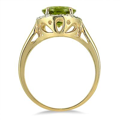 Peridot and Diamond Ring 14k Yellow Gold