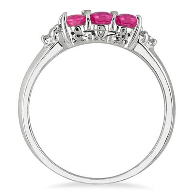 14kt. Pink Sapphire & Diamond Ring White Gold