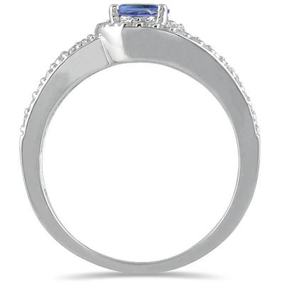 Oval Cut Tanzanite and Diamond Wrap Ring in 14kt White Gold