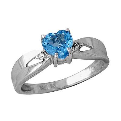 Blue Topaz and Diamond Ring in 14kt White Gold