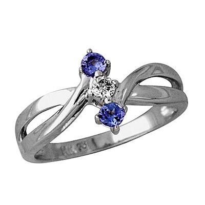Three Stone Tanzanite and Diamond Ring in 14kt White Gold