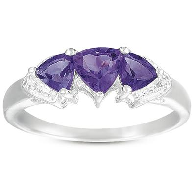 3 Stone Trillion Cut Amethyst and Diamond Ring in .925 Sterling Silver