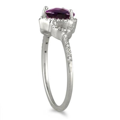 1.25 Carat Amethyst and Diamond Ring in .925 Sterling Silver