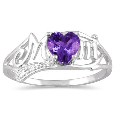 Amethyst and Diamond MOM Heart Ring in .925 Sterling Silver