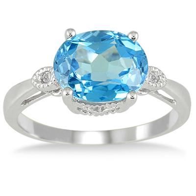 3 1/2 Carat Blue Topaz and Diamond Ring in 10K White Gold