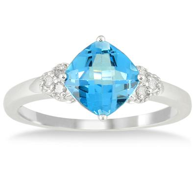 1 3/4 Carat Cushion Cut Blue Topaz and Diamond Ring in 10K White Gold