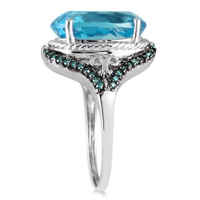 7 1/2 Carat Oval Blue Topaz and Blue Diamond Ring in 10K White Gold