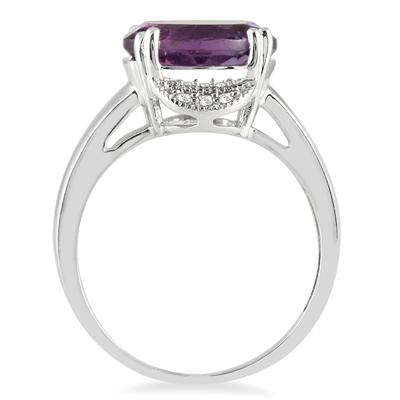 3.35 Carat Oval Amethyst and Diamond Ring in 10K White Gold