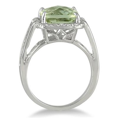 3.50 Carat Cushion Cut Green Amethyst and Diamond Ring in .925 Sterling Silver