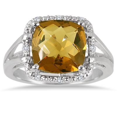 3.75 Carat Cushion Cut Natural Honey Quartz and Diamond Ring in .925 Sterling Silver