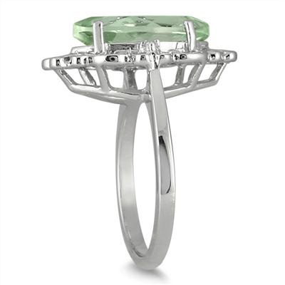 3.00 Carat Marquise Green Amethyst and Diamond Deco Ring in .925 Sterling Silver