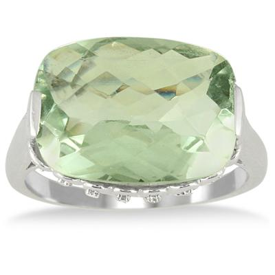 8 1/2 Carat Cushion Cut Green Amethyst and Diamond Ring in 10K White Gold