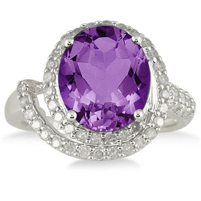 4 3/4 Carat Oval Amethyst and Diamond Ring in 10K White Gold